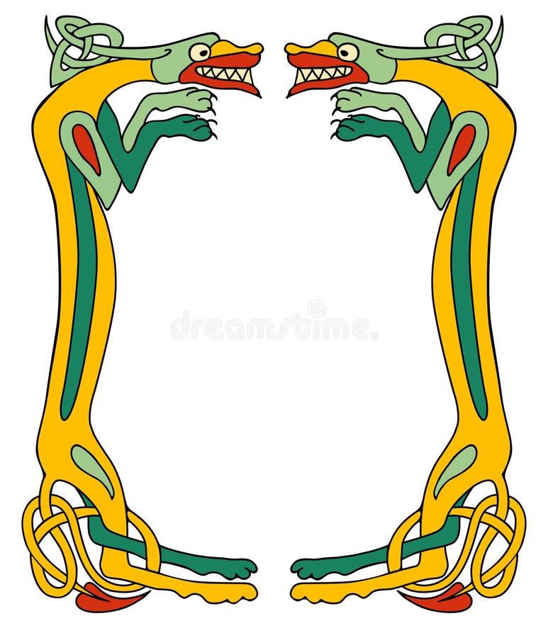 Кельтская рамка собаки иллюстрация штока