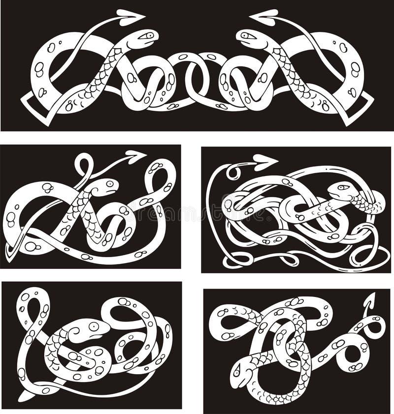 Кельтские картины узла с змейками иллюстрация вектора