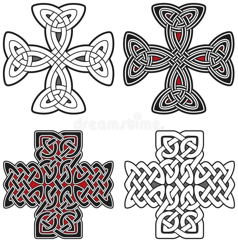 кельтские кресты конструируют комплект элементов иллюстрация штока