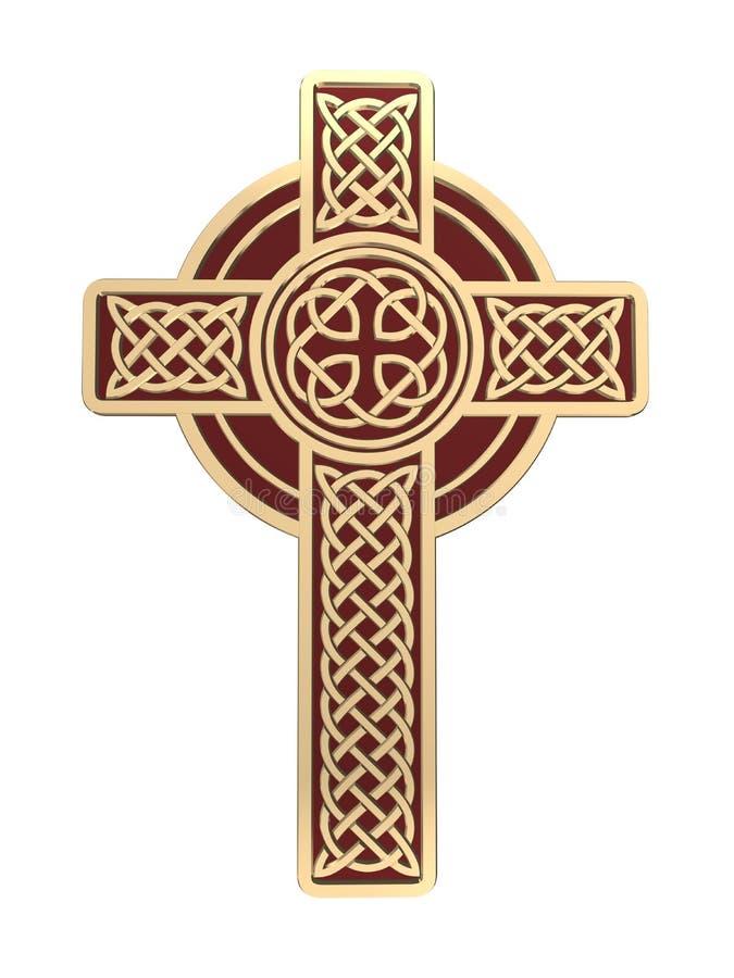 Кельтский крест золота изолированный на белой предпосылке Символ вероисповедания Ирландские узлы 3d иллюстрация вектора