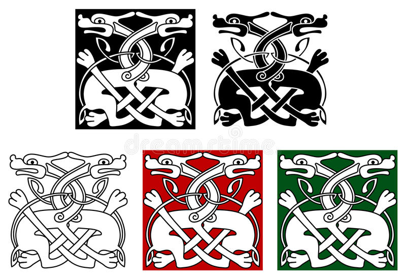 Кельтский орнамент с одичалыми собаками иллюстрация вектора