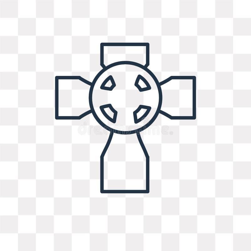 Кельтский перекрестный значок вектора на прозрачной предпосылке, lin иллюстрация штока