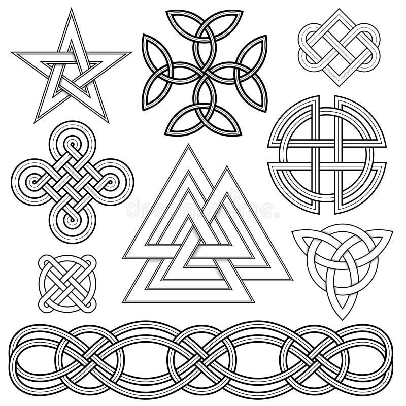 кельтский узел элементов конструкции завязывает трилистник 6 иллюстрация вектора