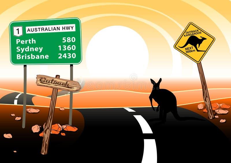 Кенгуру стоя на дороге в австралийском захолустье иллюстрация вектора