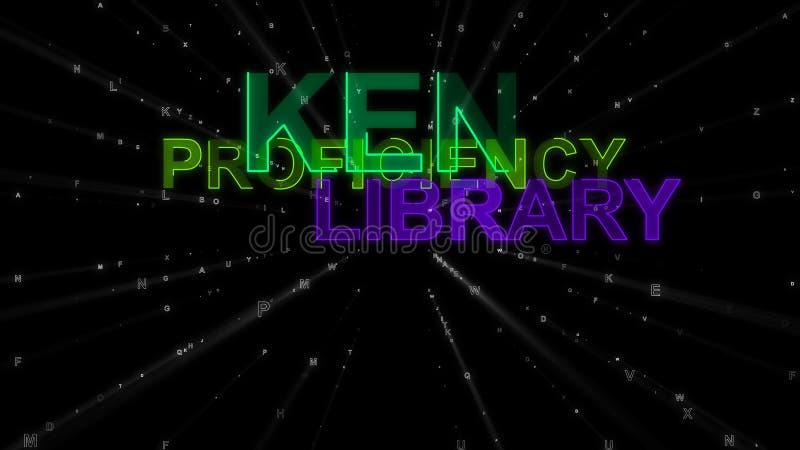 Кен, выработанность, библиотека как слова концепции иллюстрация штока