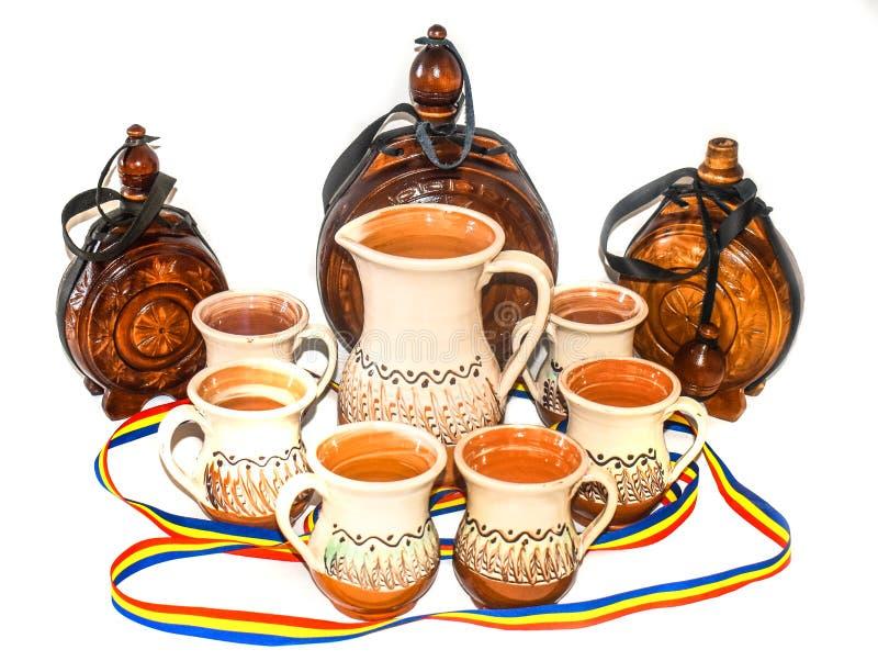 Керамика Horezu уникальный тип румынской гончарни которая традиционно произведена вручную вокруг городка Horezu в северном стоковое фото