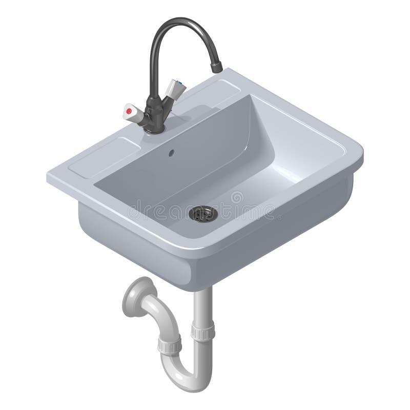 Керамическая белая раковина для кухни Иллюстрация вектора равновеликая бесплатная иллюстрация