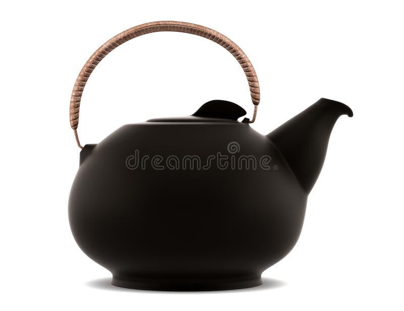 керамическая изолированная японская белизна чайника иллюстрация вектора