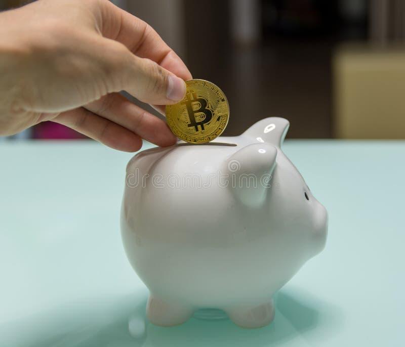 Керамическая копилка с введенным bitcoin в руке человека стоковые изображения