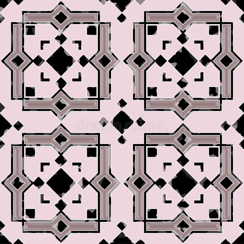 Керамические плитки с безшовной картиной в морокканском стиле иллюстрация вектора