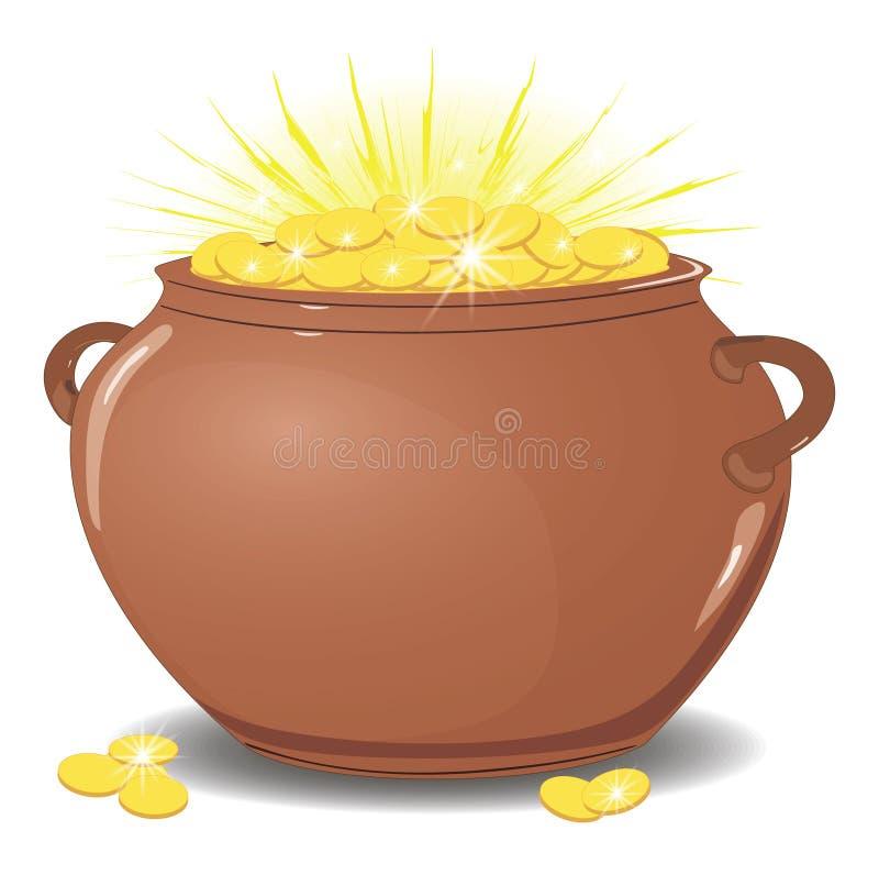 Керамический бак с золотыми монетами светить с золотом r r бесплатная иллюстрация