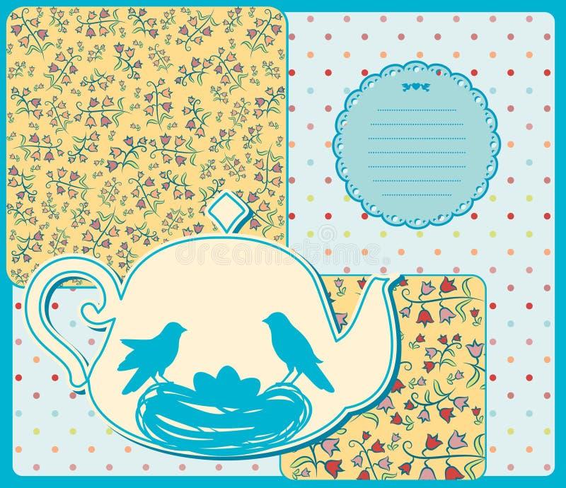 Керамический бак чая с птицами стоковые фотографии rf