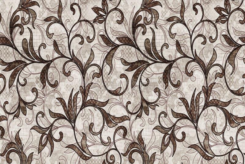 керамический дизайн плитки стены, безшовная картина с коричневыми цветками на светлой предпосылке, элегантная безшовная картина с иллюстрация вектора