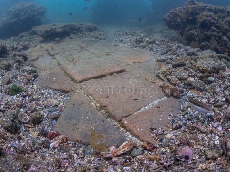 Керамический император Claudio's Ninfeum плиток пола подводный, стоковая фотография rf