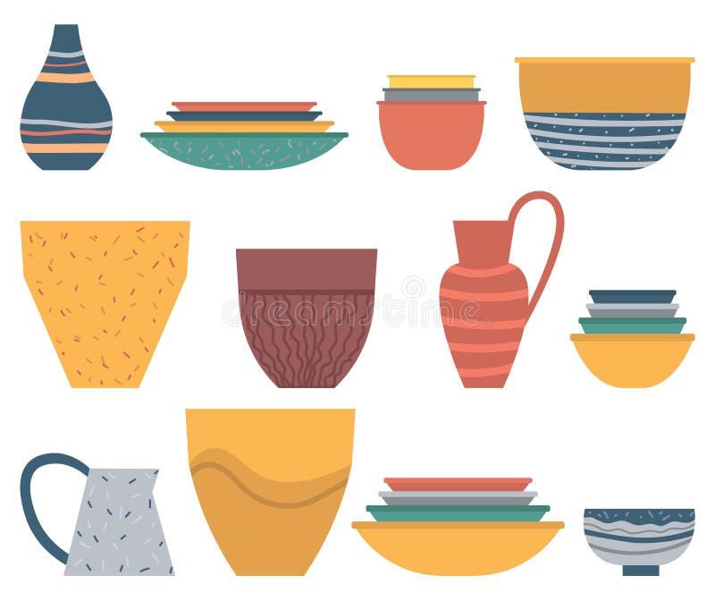 Керамический набор глиняного кувшина, плиты и шара, вектор блюда бесплатная иллюстрация