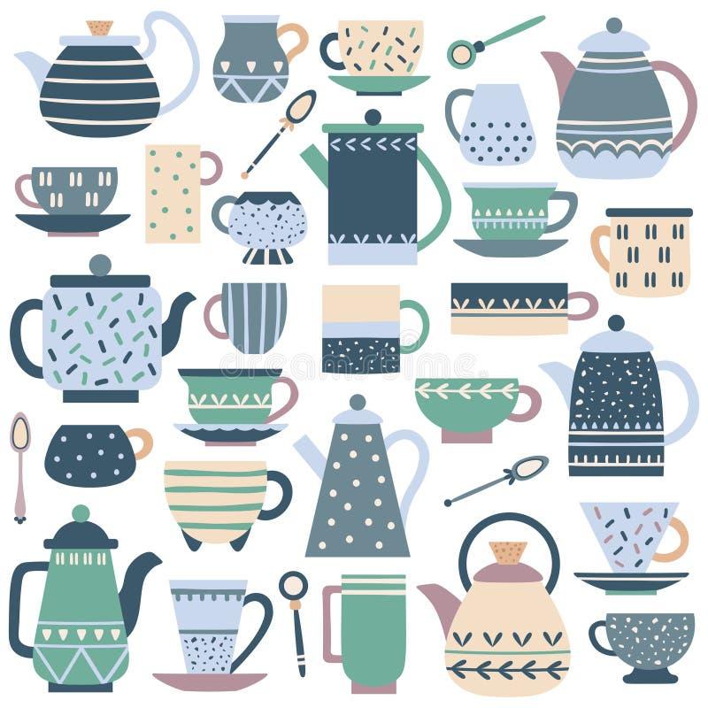 Керамическое чашка кухни Обслуживание чая фарфора, чайник фарфора и набор вектора блюд плиты бесплатная иллюстрация