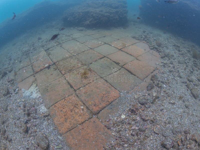 Керамическое inEmperor Claudio's Ninfeum плиток пола подводный, стоковое фото