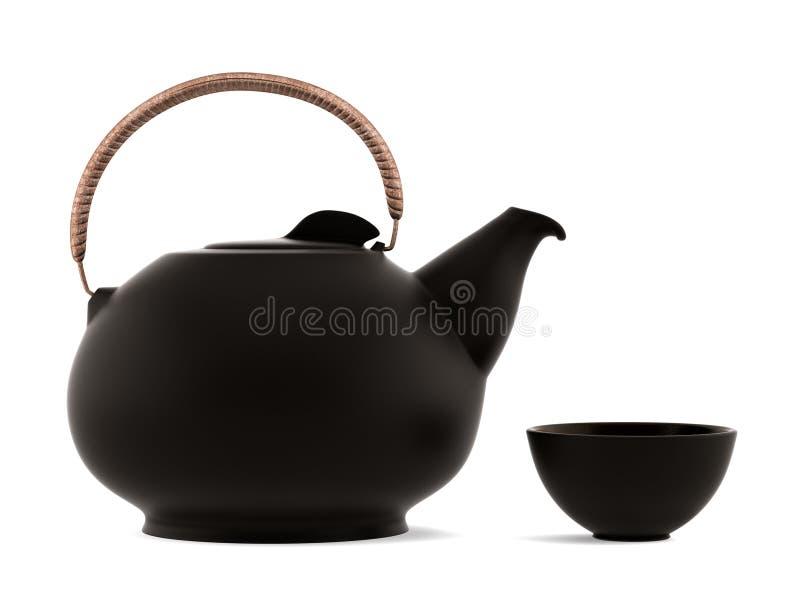 керамической изолированная чашкой японская белизна чайника иллюстрация штока