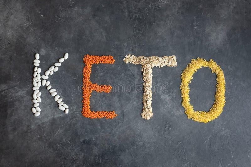 Кето, кетогенная диета, низкий углевод концепция здорового питания - вид сверху стоковая фотография