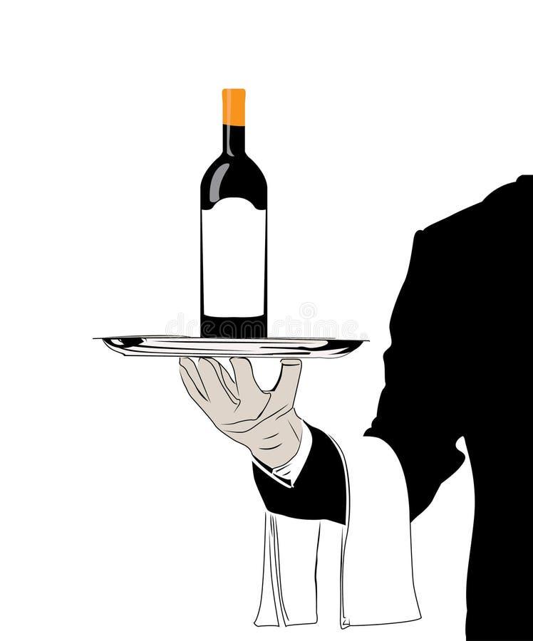 Кельнер вектора с вином иллюстрация вектора