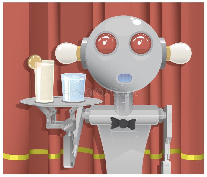 Кельнер робота иллюстрация вектора