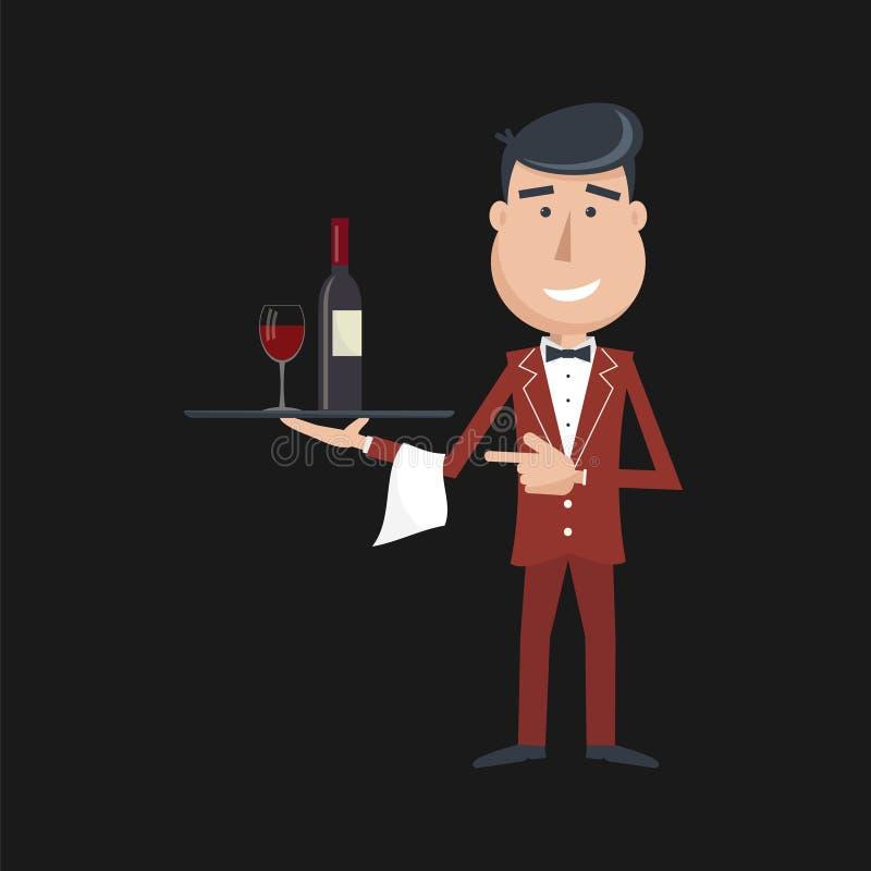 Кельнер с бутылкой и бокалом вина иллюстрация вектора