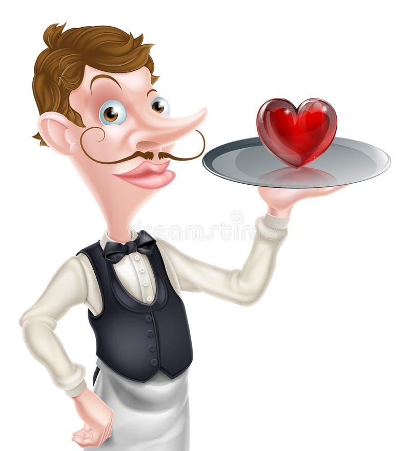 Кельнер шаржа с сердцем бесплатная иллюстрация