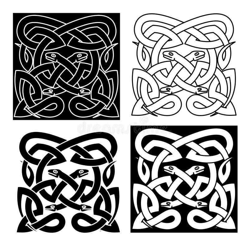 Кельтская картина узла племенного interlacement змеек бесплатная иллюстрация