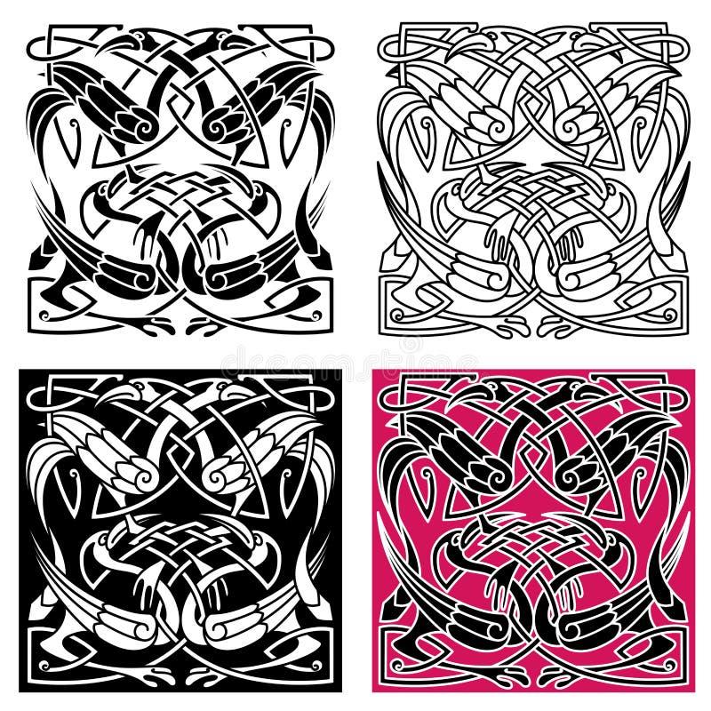 Кельтская картина узла с птицами цапли бесплатная иллюстрация