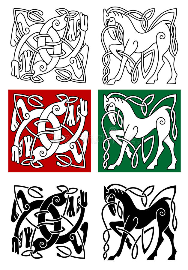 Кельтская лошадь и абстрактный изверг иллюстрация вектора