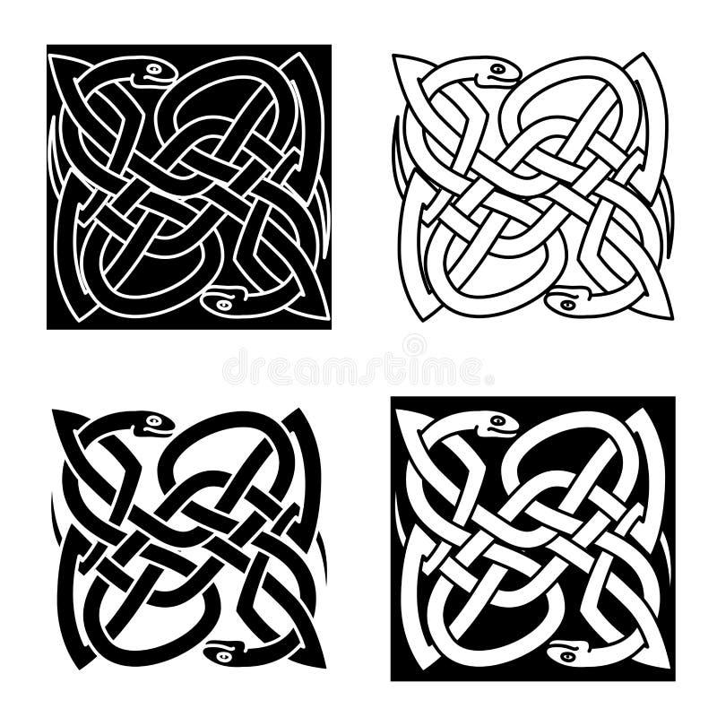 Кельтские змейки аранжированные в традиционной картине узла бесплатная иллюстрация