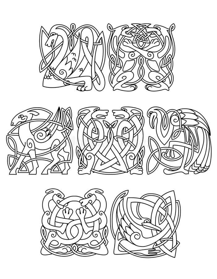 Кельтские мифологические силуэты животных и птиц иллюстрация вектора