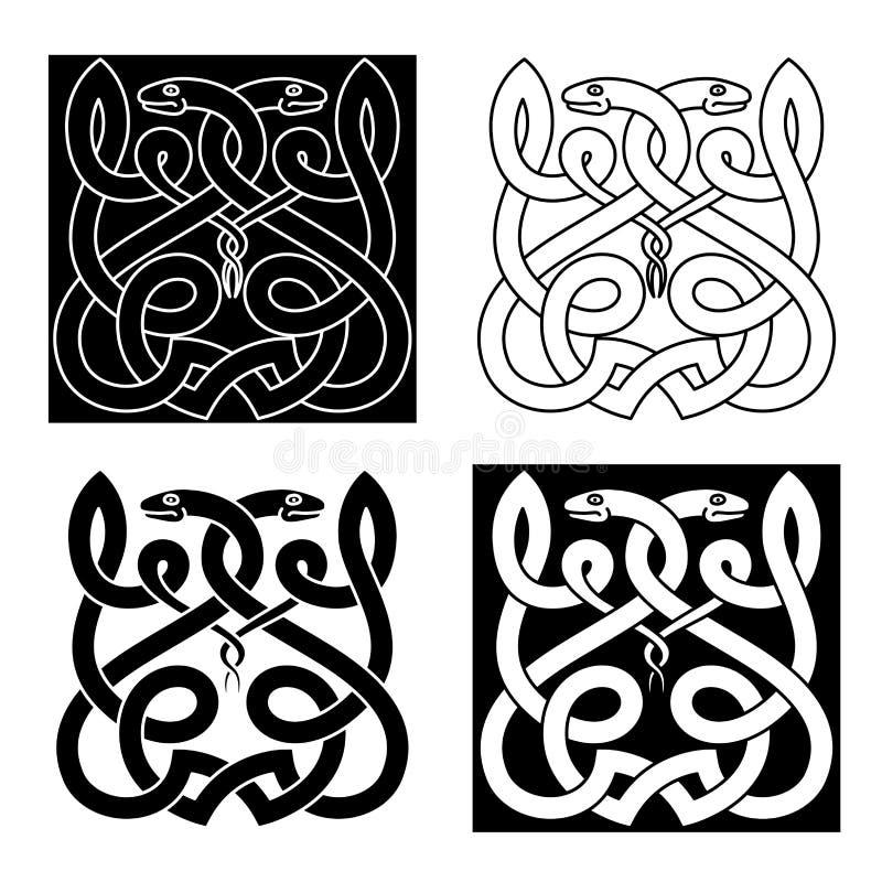 Кельтский орнамент змеек с племенными элементами иллюстрация штока