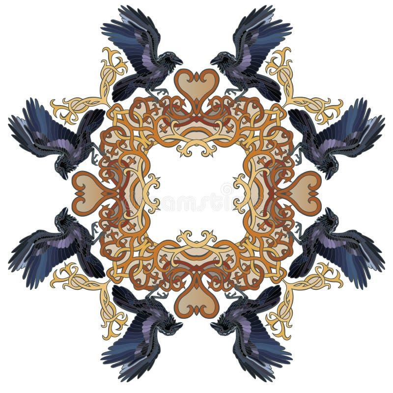 Кельтский орнамент рамки ворона иллюстрация штока