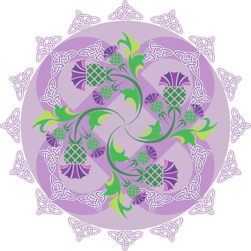 Кельтский орнамент символов с thistle цветков и кельтские узлы иллюстрация штока