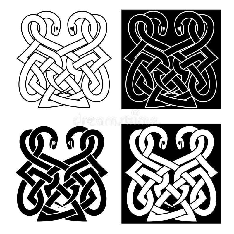 Кельтский орнамент с 2 переплетаннсяыми змейками иллюстрация штока