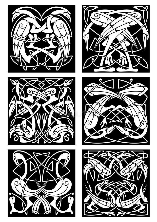 Кельтский орнамент узла с фантастическими птицами иллюстрация штока