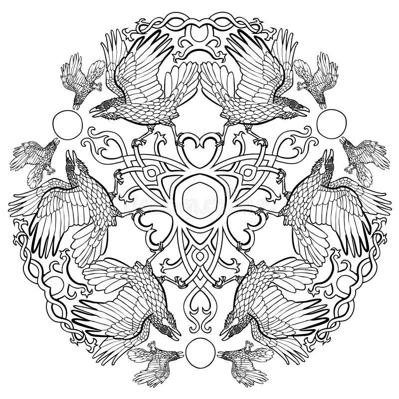 Кельтский орнамент фантазии Викинга воронов иллюстрация штока