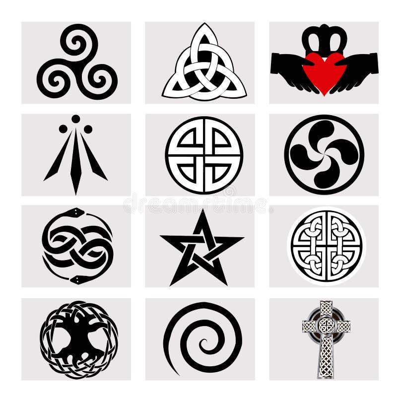 12 кельтских символов иллюстрация штока