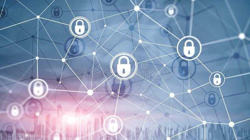 Кибербезопасность, конфиденциальность информации, концепция защиты данных на фоне современных серверных комнат Интернет и цифрово бесплатная иллюстрация
