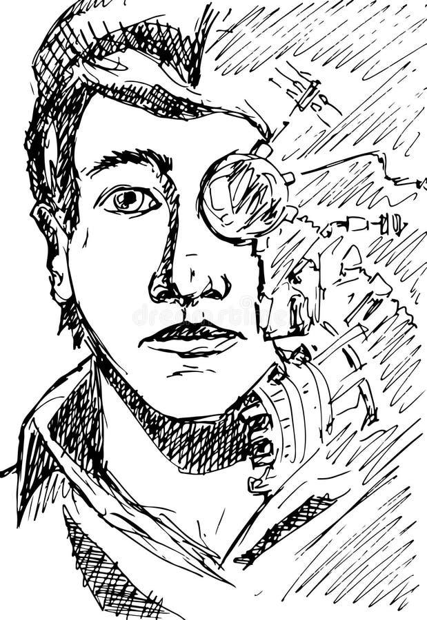 Киберпанк конспекта вектора/сторона научной фантастики молодого чело бесплатная иллюстрация