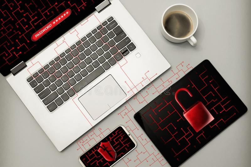 Кибер атака и вирус обнаружили концепцию стоковое изображение rf
