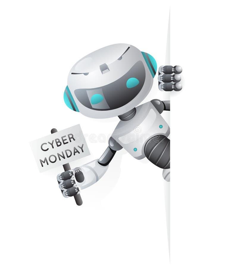 Кибер понедельника робота взгляда плакат угла вне в векторе дизайна продажи 3d научной фантастики технологии руки будущем милом м иллюстрация штока