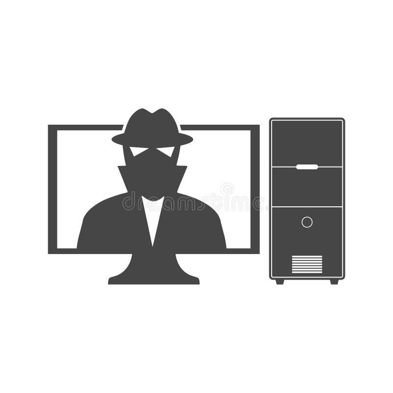 Кибер рискует предохранение от значка, данных и сети бесплатная иллюстрация