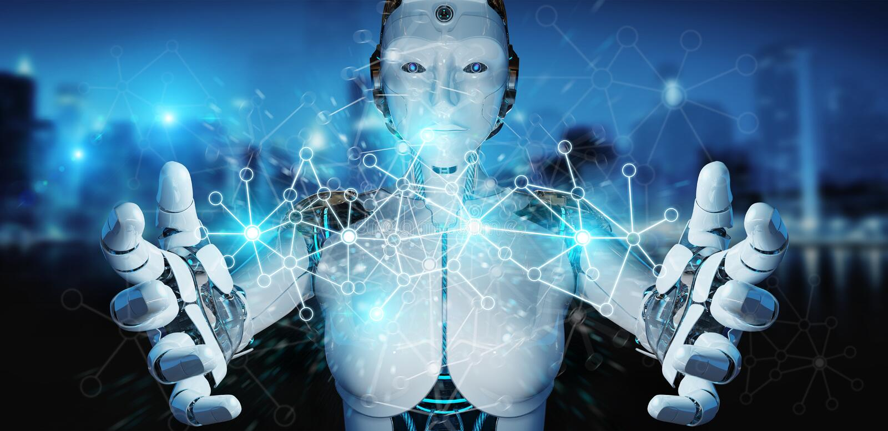 Киборг белой женщины используя цифровой перевод сетевого подключения 3D бесплатная иллюстрация