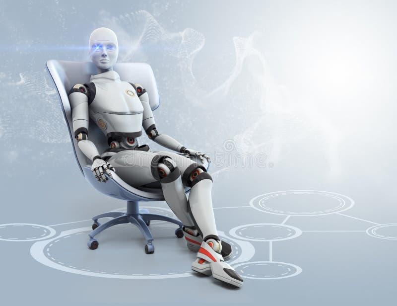 Киборг сидит в стуле бесплатная иллюстрация
