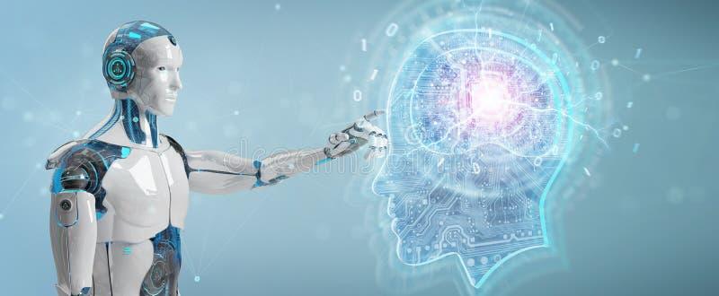 Киборг создавая перевод искусственного интеллекта 3D иллюстрация штока