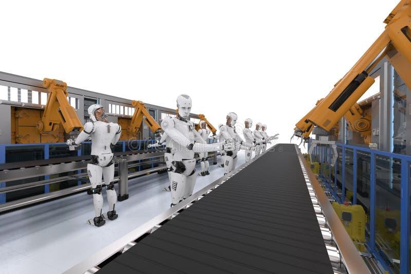 Киборг с рукой робота иллюстрация вектора