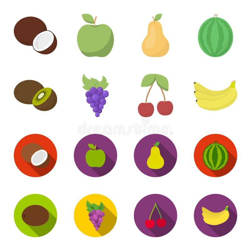 Киви, виноградины, вишня, банан Плодоовощи установили значки собрания в шарже, плоской сети иллюстрации запаса символа вектора ст иллюстрация штока