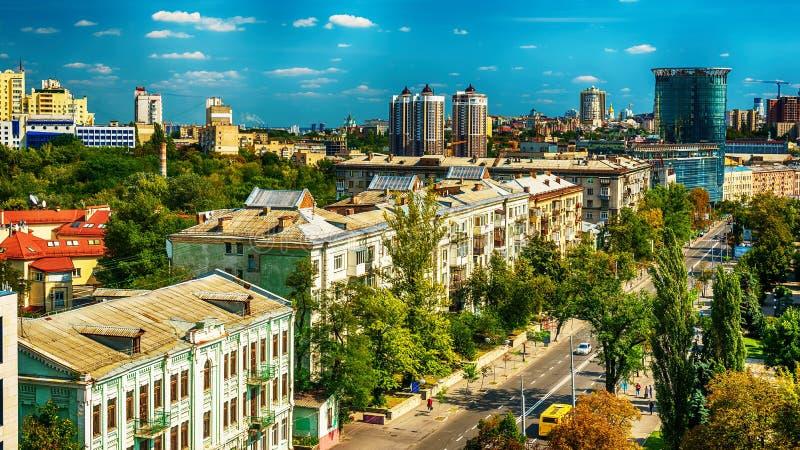 Киев или Kiyv, Украина: воздушный панорамный взгляд центра города стоковая фотография